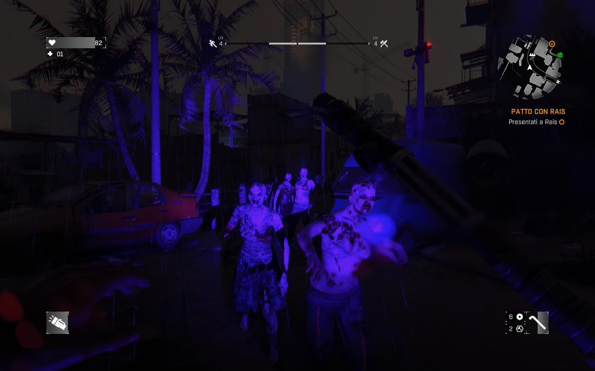 La notte cala e gli zombie diventano feroci. La luce UV li tiene a bada, ma occhio alla batteria!