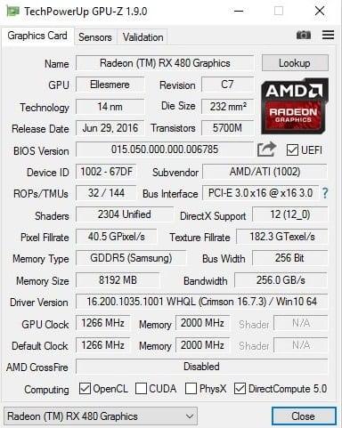 rx 480 gpuz