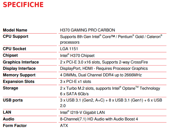 MSI H370 GAMING PRO CARBON specifiche
