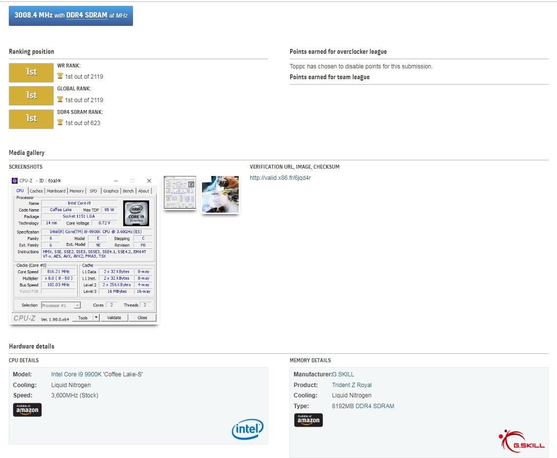 , Le memorie DDR4 G.SKILL sono le prime a superare i 6GHz, nuovo record mondiale