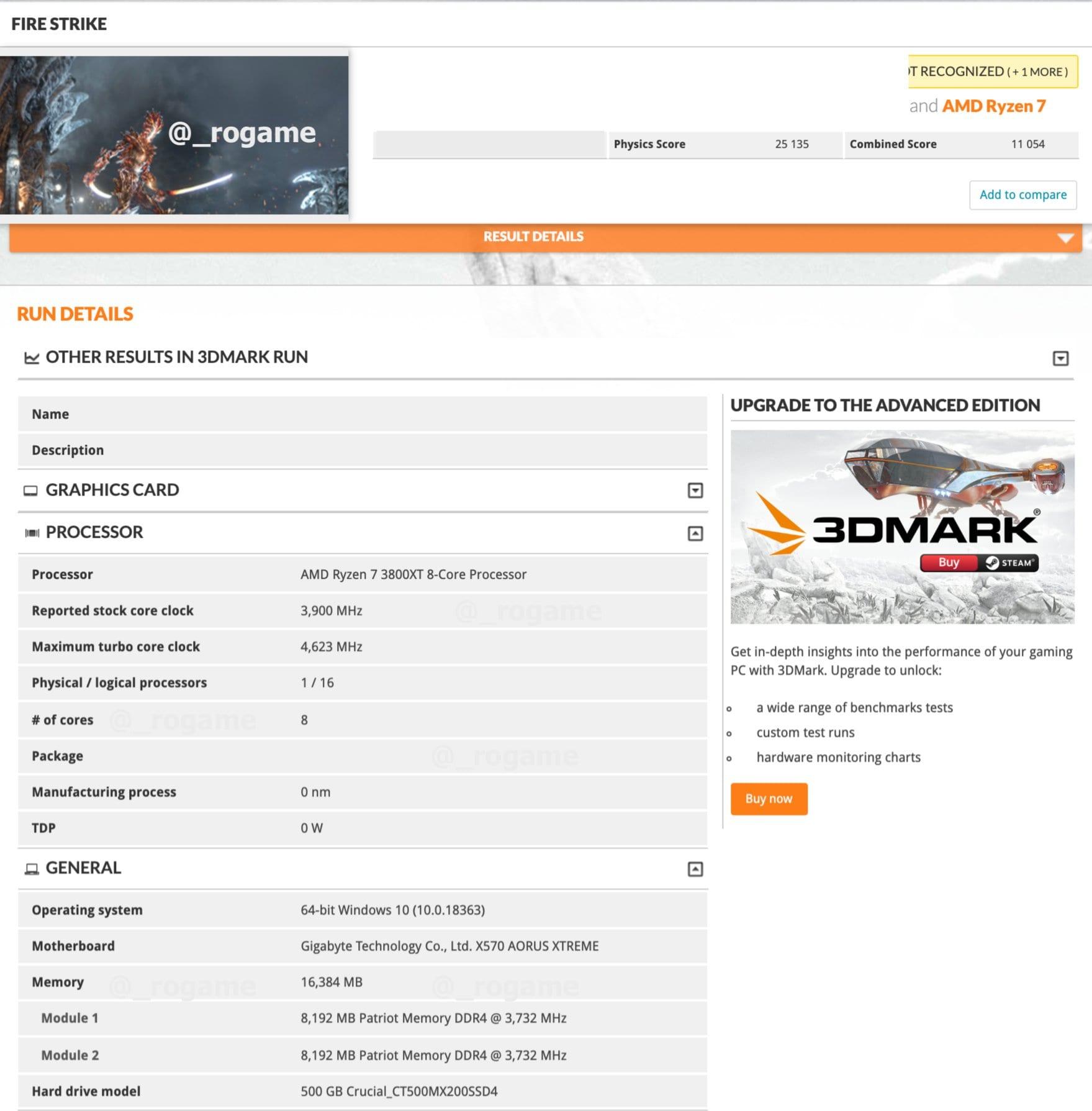 AMD Ryzen 9 3900XT e Ryzen 7 3800XT appaiano su 3DMark