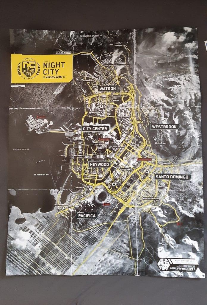 Cyberpunk 2077, spuntata fuori una foto con la mappa di Night City