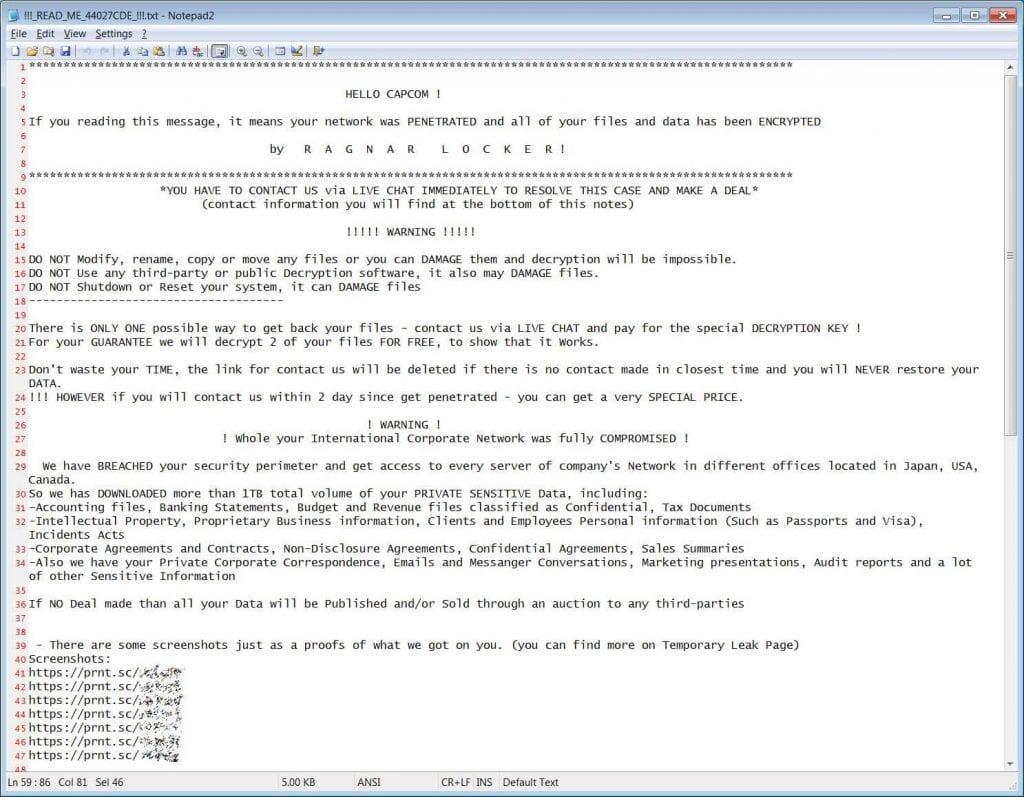 Capcom vittima di un attacco ransomware, rubati un terabyte di file dai server